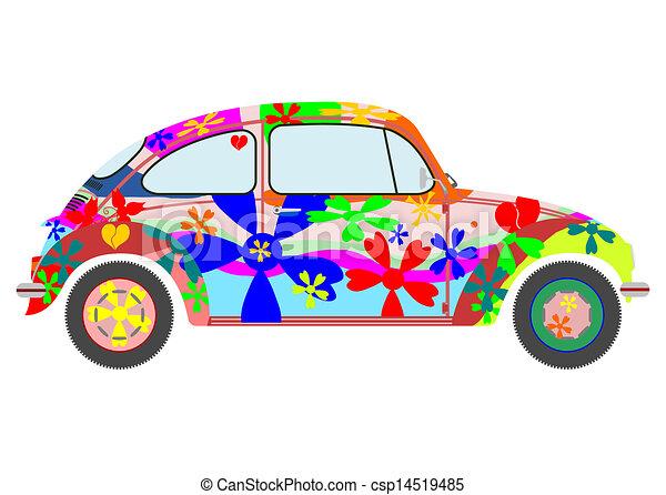 vecteur de voiture hippie colorfur retro hippie voiture csp14519485 recherchez des. Black Bedroom Furniture Sets. Home Design Ideas