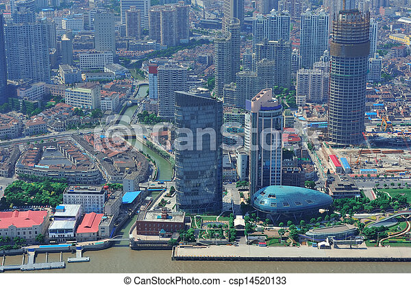Shanghai aerial in the day - csp14520133