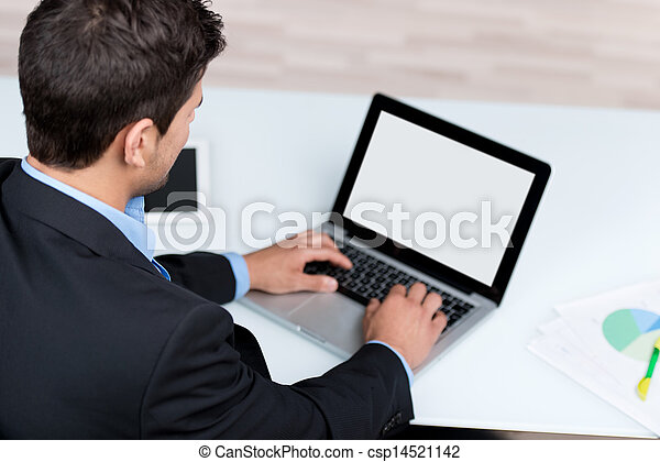 Young Businessman Using Laptop At Desk