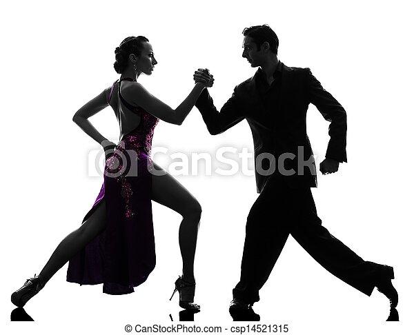 couple man woman ballroom dancers tangoing  silhouette - csp14521315