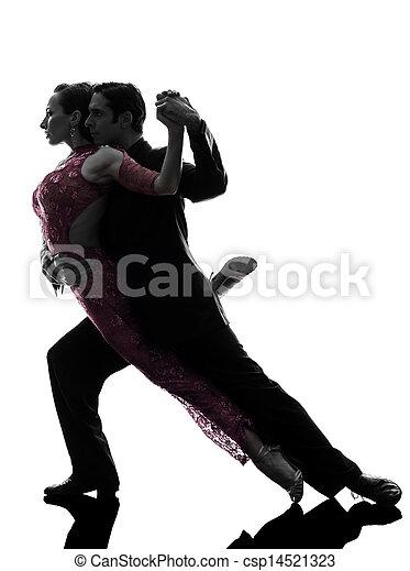 couple man woman ballroom dancers tangoing  silhouette - csp14521323