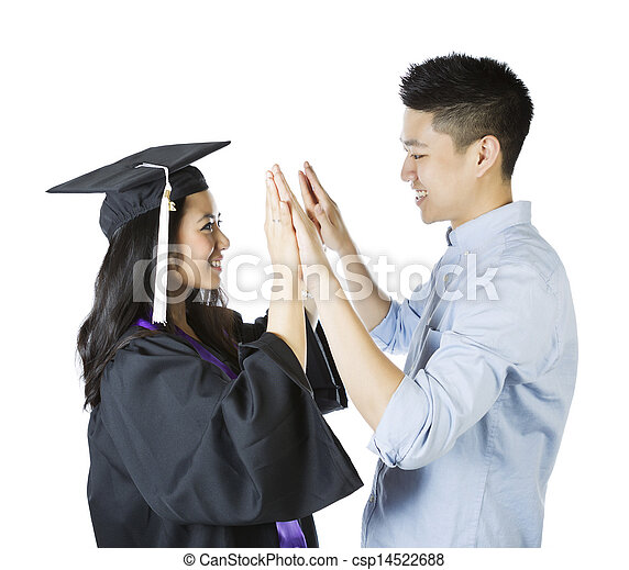 Young Adult Couple expressing happiness upon graduation  - csp14522688