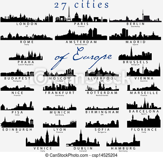 Detailed silhouettes of European cities - csp14525204