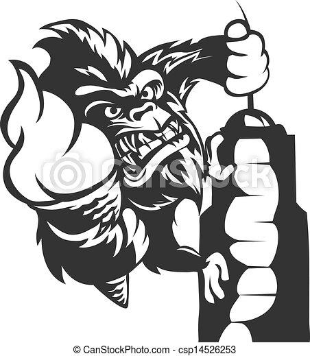 Clipart Vector of gori... King Clip Art Black And White