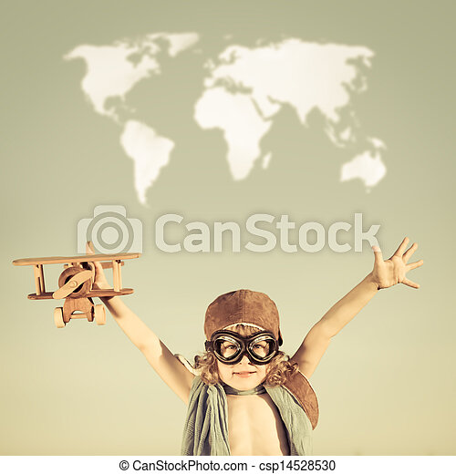 Happy kid playing with toy airplane - csp14528530