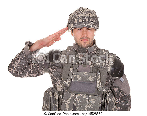 Portrait Of Man In Military Uniform Saluting - csp14528562