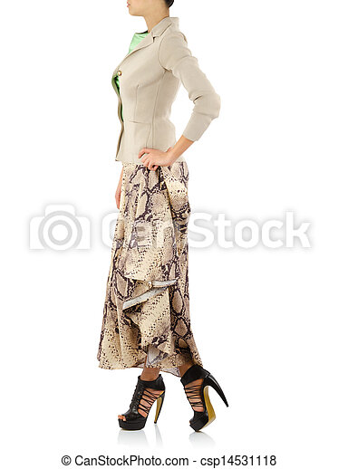 Woman in fashion dress concept on white - csp14531118