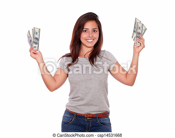 Smiling young woman with cash money - csp14531668