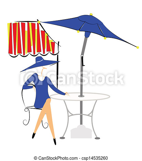 Clip Art Vector Of Outdoor Cafe Lady Sitting On Chair At