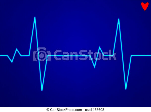 Electronic cardiogram ECG heart beat trace on a monitor. - csp1453608