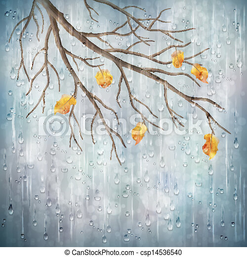 Rainy Nature Drawing Autumn Season Rainy Weather