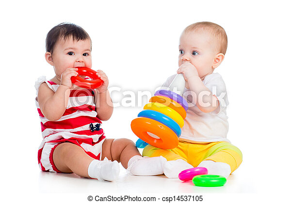 babies girls playing toy together - csp14537105