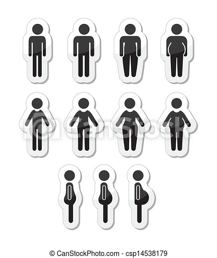 Man and women body icons - csp14538179