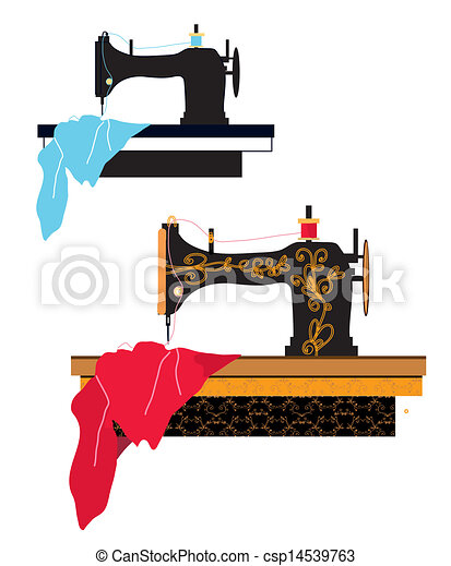 Sewing machine silhouette and design with pattern - csp14539763