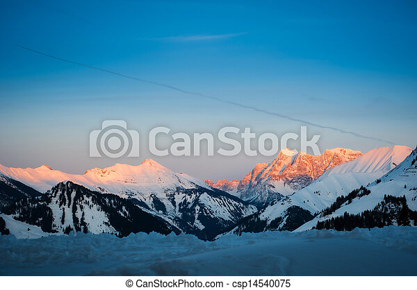 sunset in tyrol snow mountain alps at winter - csp14540075