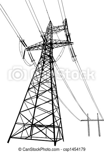 Power lines and pylons - csp1454179