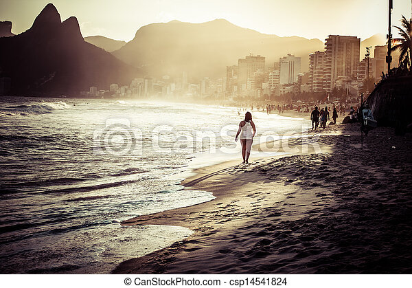 View of Ipanema Beach in the evening, Brazil  - csp14541824