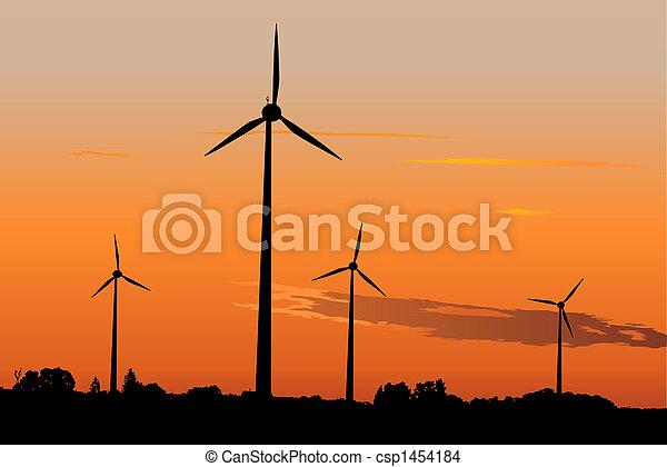 Wind generators at sunrise - csp1454184