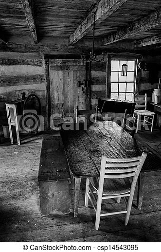 Interior of a historic cabin in Sky Meadows State Park, Virginia. - csp14543095