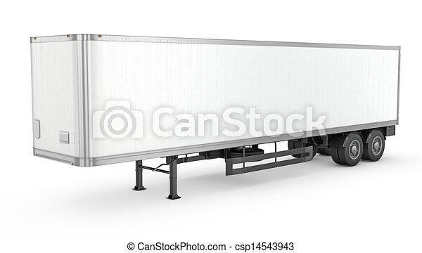 Blank white parked semi trailer - csp14543943