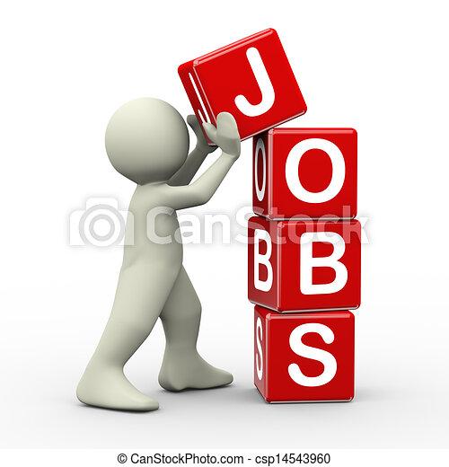 3d man placing jobs cubes - csp14543960