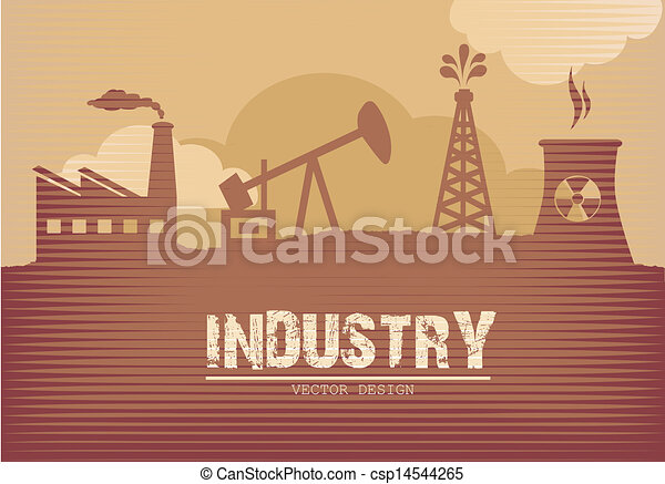 Clip Art Vector of industry poster over grunge background vector ...