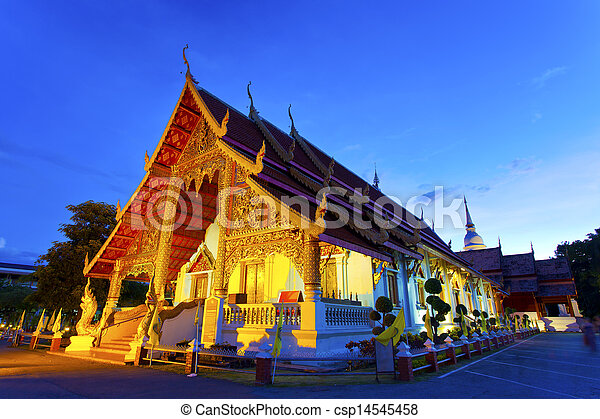 Chiangmai temple at night in Thailand