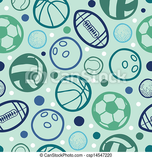 Sports balls seamless patterns backgrounds