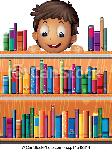 Illustration of a boy at the back of a wooden shelves with books on a ...