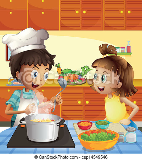 Kitchen Drawing For Kids eps vector of kids cooking at the kitchen - illustration of the