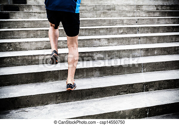 Man running on stairs, sports training - csp14550750