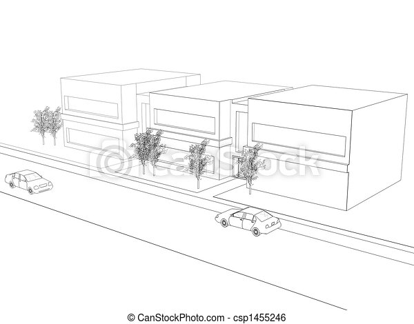 Wireframe Office Building - csp1455246
