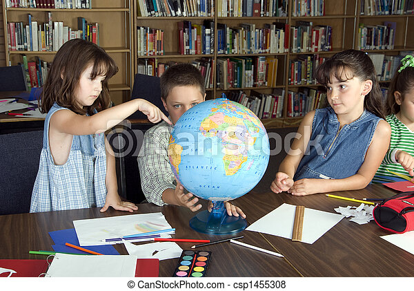 Elementary school students studying - csp1455308