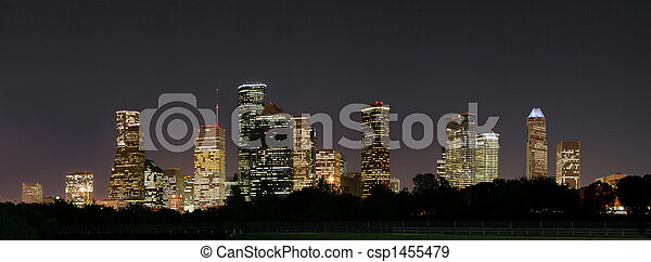 Downtown Houston Night Pano - csp1455479