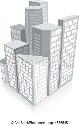3d city concept - csp14556545