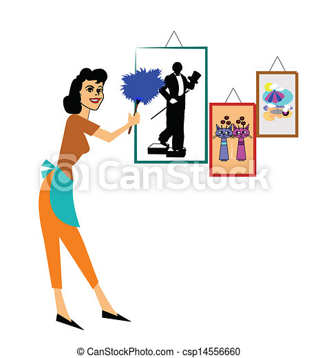 Woman Cleaning Logo Woman Cleaning Her House With