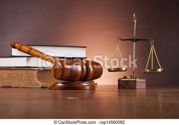 Wooden desk in a law firm  - csp14560082