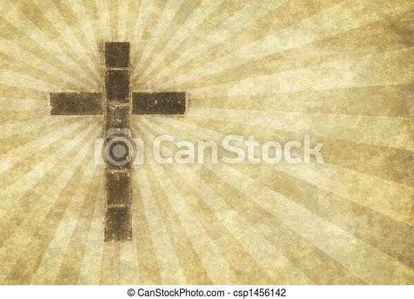 christian cross on parchment - csp1456142