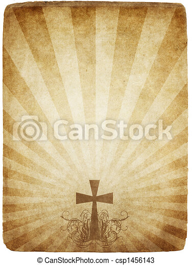 cross on old parchment - csp1456143