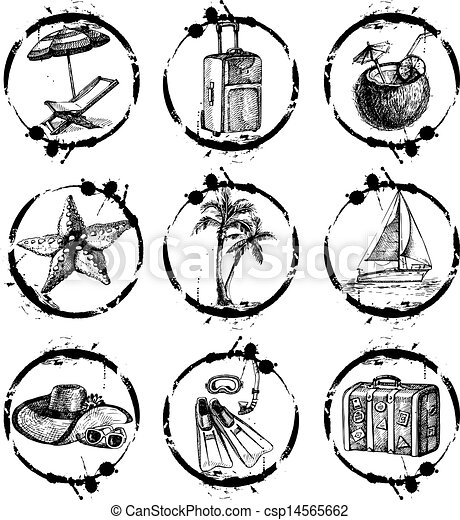 Travel and vacation stamp collection - for your design, scrapbook - in vector. Black and white travel set with hand drawn illustrations  - csp14565662