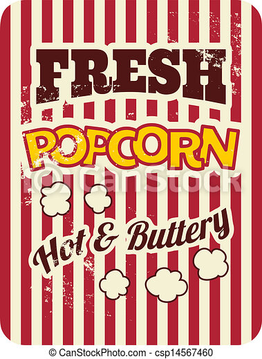 Clip Art Vector of Retro Popcorn Poster - Vintage style poster ...