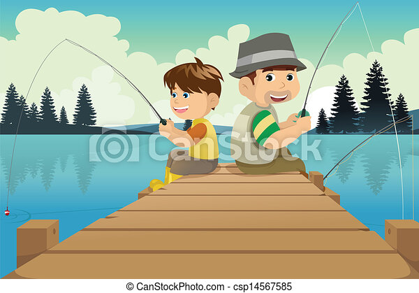 Father and son going fishing in a lake - csp14567585