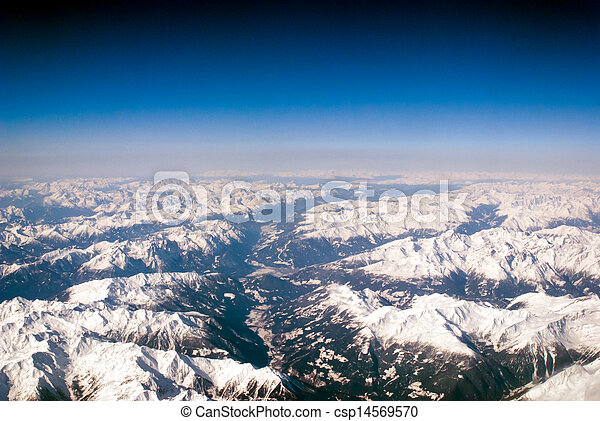 aerial view of mountains and clouds on top  - csp14569570