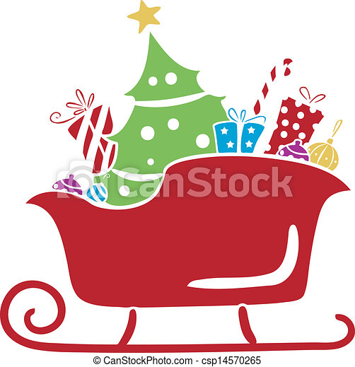 Clip Art Vector of Christmas Santa Sleigh with Gifts Stencil ...