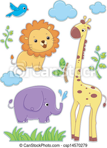 Safari Animals Sticker Designs - csp14570279