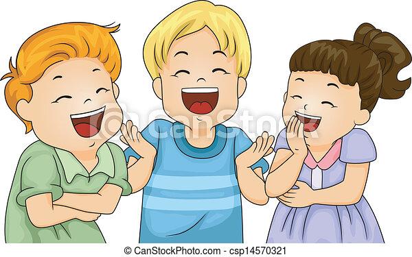 Vector Illustration Of Little Kids Laughing Illustration