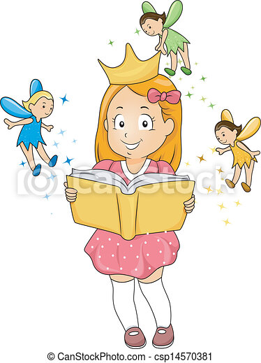 Little Kid Girl reading a Fantasy Book with Fairies - csp14570381