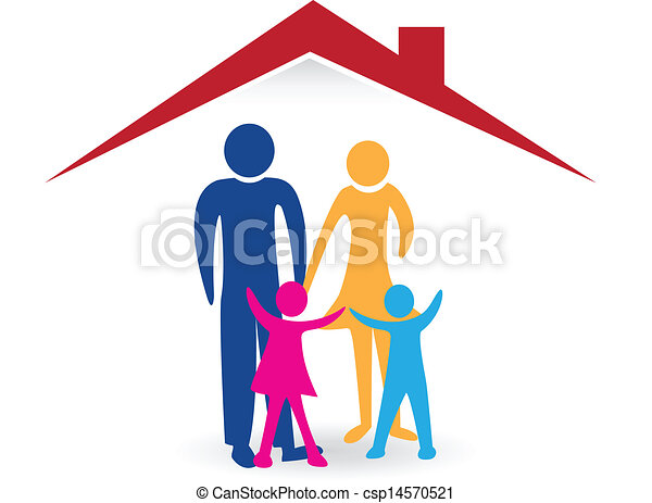 Happy family with new house logo  - csp14570521