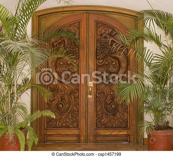 Banque de photographies de bois porte d coup d coup - Porte villa en bois ...