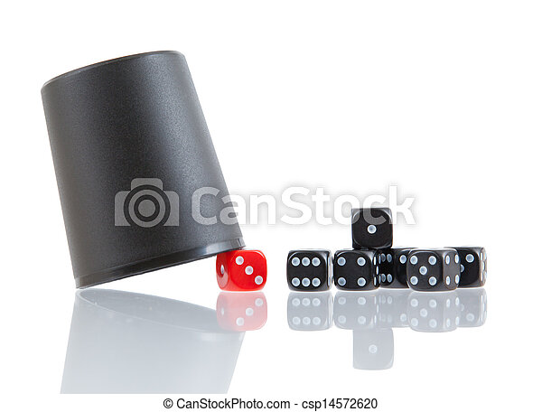 Gambling background with dice and dice cup - csp14572620